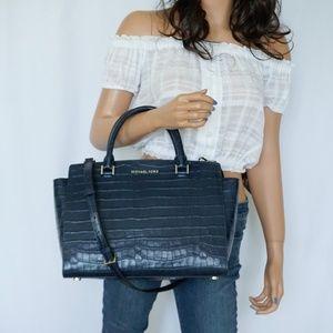 Michael Kors Selma LG Embossed Leather Satchel Bag